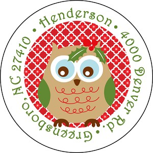 Holly Owl<br>Return Address Sticker