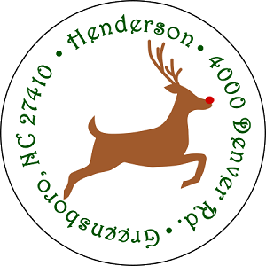 Rudolph Takes Flight<br>Return Address Sticker