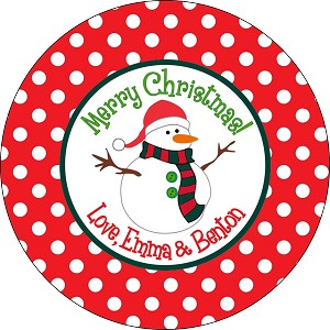 Santa Snowman with Polka Dots<br>Round Gift Sticker