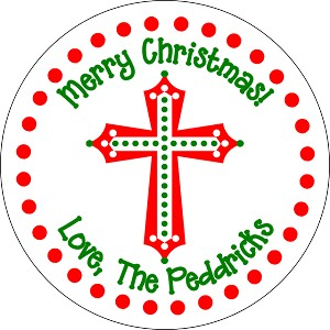 Christmas Cross<br>Round Gift Sticker