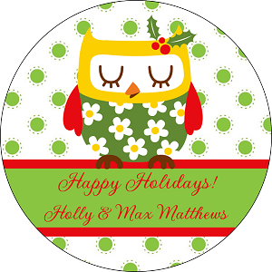 Holly Owl<br>Round Gift Sticker