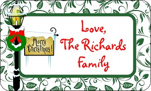 Christmas Lamppost<br>Rectangle Gift Sticker