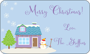 Purple House in the Snow<br>Rectangle Gift Sticker