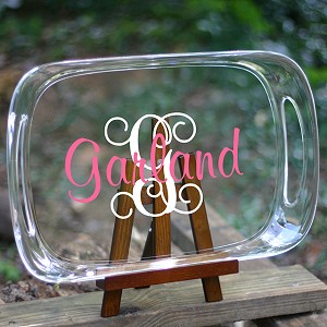 Monogrammed<br>Oblong Tray with Handles