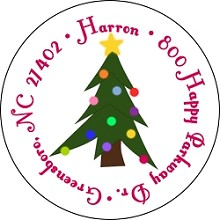 Christmas Tree<br>Return Address Sticker