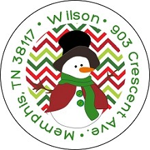 Top Hat Snowman<br>Return Address Sticker