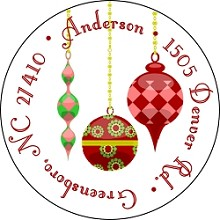Ornaments in Red<br>Return Address Sticker
