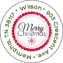 Stamped Merry Christmas<br>Return Address Sticker