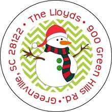 Santa Hat Snowman<br>Return Address Sticker