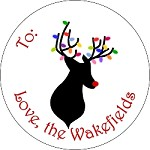 Rudolph Silhouette with Lights<br>Round Gift Sticker